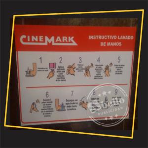señalización cinemark lavado de manos